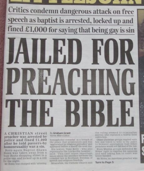 Jailed for preaching
